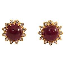 14k & 18k Yellow Gold Ruby and Diamond Earrings