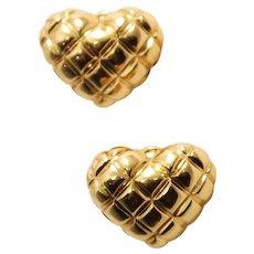 18k Yellow Gold Heart Earrings