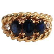 14k Yellow Gold Sapphire and Diamond Ring
