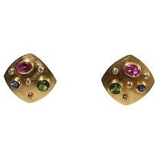 18k Yellow Gold Tourmaline, Peridot, Tanzanite, and Diamond Earrings