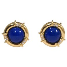 18k Yellow Gold Lapis and Diamond Clip On Earrings