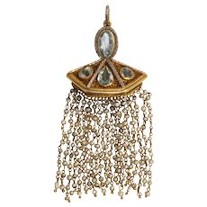 Antique 14k White and Yellow Gold Aquamarine and Seed Pearl Pendant