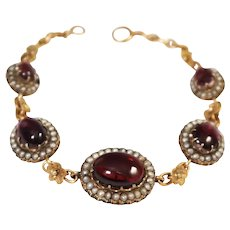 Antique 14k Yellow Gold Garnet and Seed Pearl Bracelet