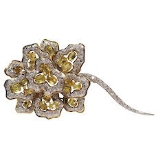 18k White and Yellow Gold Diamond and Yellow Sapphire Brooch