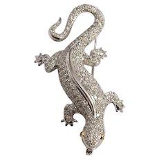 18k White Gold Diamond Lizard Brooch
