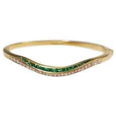 18k Yellow Gold Emerald and Diamond Bracelet