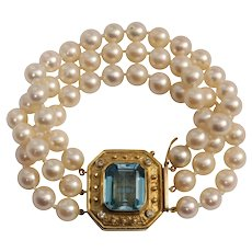 18k Yellow Gold Pearl, Topaz, and Diamond Bracelet