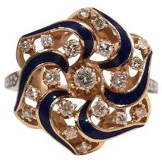 Mid Centuy 14k Yellow Gold Diamond and Enamel Ring