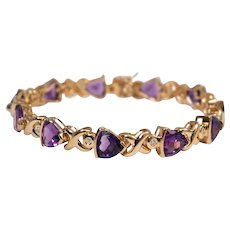 14k Yellow Gold Amethyst and Diamond Bracelet