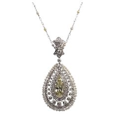 Edwardian Platinum Diamond and Seed Pearl Pendant Necklace