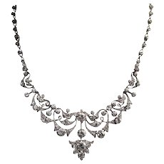 Antique Silver Over Gold Diamond Necklace