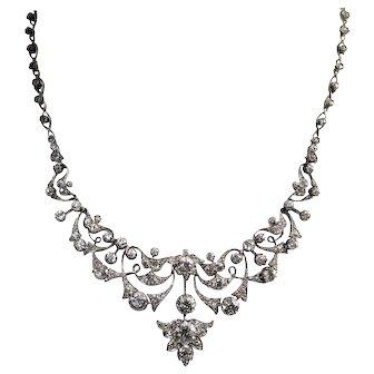 Antique Silver Over Gold Diamond Necklace