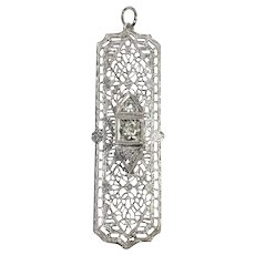 Art Deco 14k White Gold Diamond Pendant