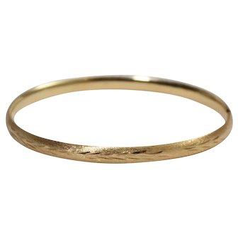 mid Century 14k Yellow Gold Bangle Bracelet