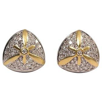 18k White and Yellow Gold Diamond Earrings