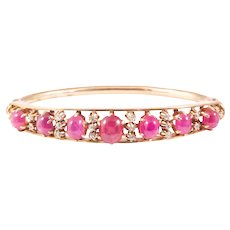 Antique 14K Rose Gold Ruby and Diamond Bangle Bracelet