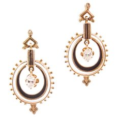 Victorian Style 14K Yellow Gold Diamond and Enamel Earrings
