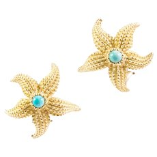 18K Yellow Gold Turquoise Starfish Earrings