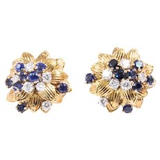 18k Yellow Gold Sapphire and Diamond Flower Earrings
