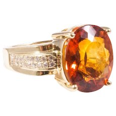 14k Yellow Gold Madeira Citrine and Diamond Ring