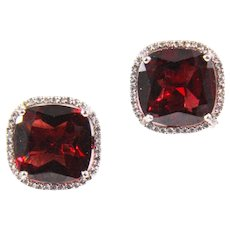 18k White Gold Garnet and Diamond Earrings