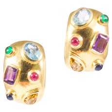 14K Yellow Gold Multi-Stone Dome Earrings