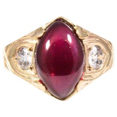 Antique 14K Yellow Gold Garnet and Diamond Ring