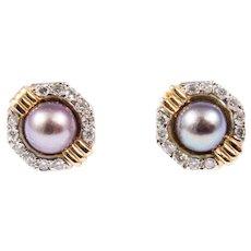 14k Yellow Gold Black Pearl and Diamond Earrings