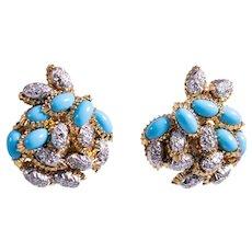 18k Yellow Gold Turquoise and Diamond Earrings