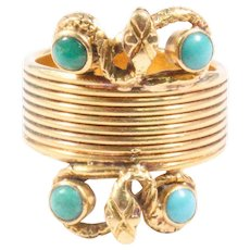 Lalaounis 18K Yellow Gold Turquoise Snake Ring