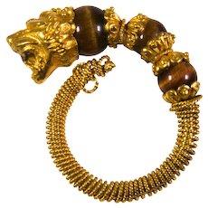 18k Yellow Gold Tigers Eye Lion Ring