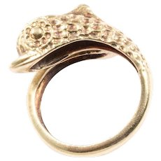 14K Yellow Gold Fish Ring