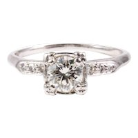 Retro Platinum Diamond Engagement Ring