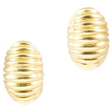 18k Yellow Gold Dome Earrings