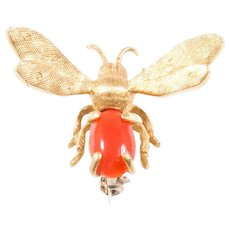 14K Yellow Gold Coral Bee Brooch