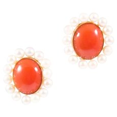 Mid Century 14k Yellow Gold Coral and Pearl Earrings