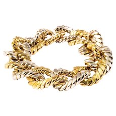 1960s 18k Yellow and White Gold Link Bracelet