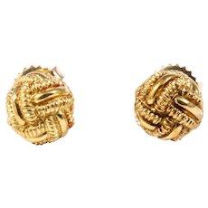 18k Yellow Gold Love Knot Earrings