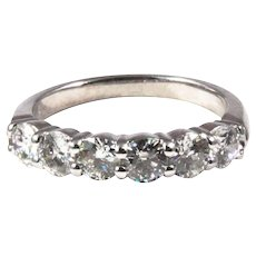 Platinum Six Stone Prong Style Diamond Band