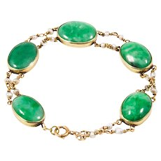 Antique 14k Yellow Gold Jade and Seed Pearl Bracelet