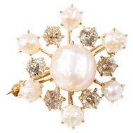 Antique 14k Yellow Gold Pearl and Diamond Pin/Pendant
