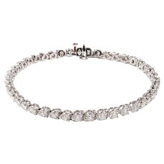 14k White Brilliant Cut Diamond Three Prong Style Straight Lined Bracelet