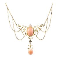 Antique 14k Yellow Gold Coral and Pearl Necklace