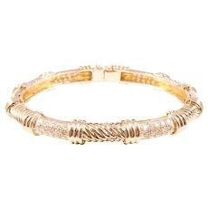 18k Yellow Gold Diamond Bangle Bracelet