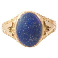 Antique 14k Yellow Gold Lapis Ring