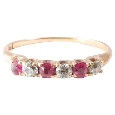 Antique 14k Yellow Gold Ruby and Diamond Ring