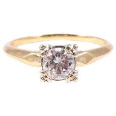 Mid Century 14k Yellow and White Gold Diamond Engagement Ring