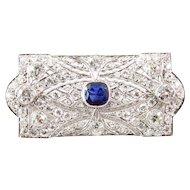 Art Deco Platinum Diamond and Sapphire Brooch