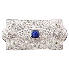 Art Deco Platinum Diamond and Sapphire Brooch
