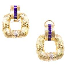 18k Yellow Gold Enamel and Diamond Doorknocker Earrings